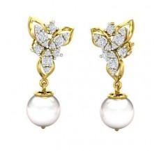 Diamond Pearl Earrings 0.58 CT / 4.00 gm Gold