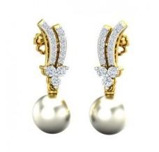 Diamond Pearl Earrings 0.33 CT / 3.74 gm Gold