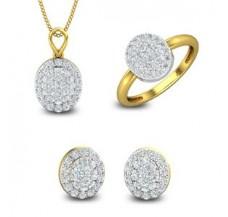 Diamond Pendant Set -FullSet - 1.64 CT / 6.60 gm Gold