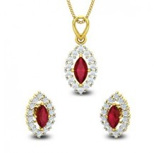 Diamond & Gemstone Pendant Half Set - 1.95 CT / 4.30 gm Gold