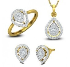 Diamond Pendant Full Set - 1.48 CT / 7.12 gm Gold