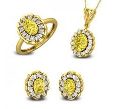Diamond & Gemstone Pendant FullSet - 5.88 CT / 11.19 gm Gold