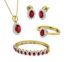 Diamond & Gemstone Set - 17.52 CT / 22.75 gm Gold