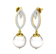 Diamond Pearl Earrings 0.54 CT / 4.59 gm Gold