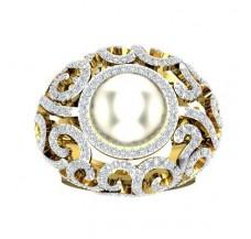 Diamond Pearl Ring 2.13 CT / 17.00 gm Gold