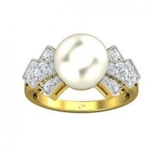 Diamond Pearl Ring 0.42 CT / 4.06 gm Gold